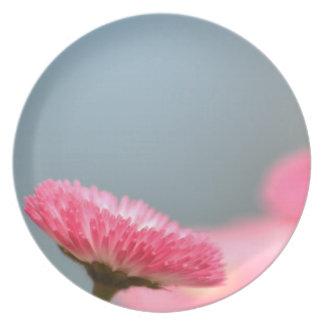 Pretty Pink English Daisy Flower Melamine Plate