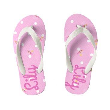 Beach Themed Pretty Pink Fairy Customisable Kids Flip Flops