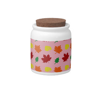 Pretty pink fall leaves candy jars