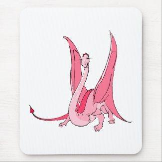 Pretty Pink Fantasy Dragon mousepad