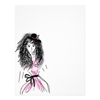 Pretty Pink Fashionista - Hand Drawn Sketch Letterhead