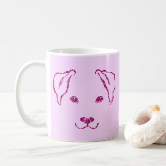Pretty Pink Faux Glitter Hand Drawn Dog Mug