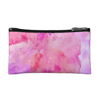 Pretty Pink Faux Sparkly Watercolor Paint Cosmetic Bag