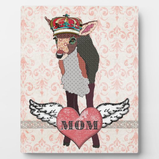 Pretty Pink Fawn Heart Mom Plaque