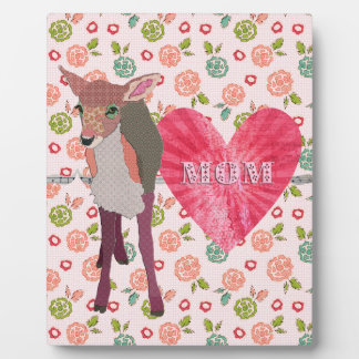 Pretty Pink Fawn Mom Floral Plaque