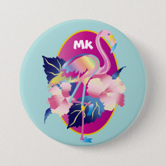 Pretty Pink Flamingo Tropical Hibiscus Flowers Button