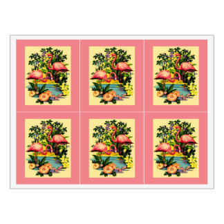 Pretty Pink Flamingos Birds Floral Wine Labels