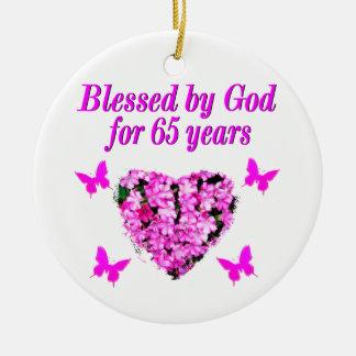 PRETTY PINK FLORAL 65TH BIRTHDAY DESIGN CERAMIC ORNAMENT