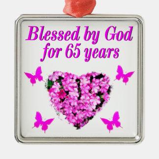 PRETTY PINK FLORAL 65TH BIRTHDAY DESIGN METAL ORNAMENT