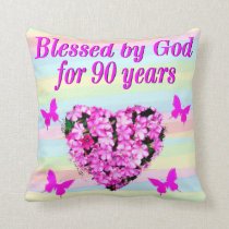 PRETTY PINK FLORAL 90TH BIRTHDAY PILLOW