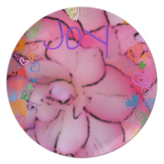 Pretty Pink Floral art Party Plate