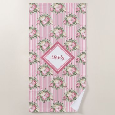 Beach Themed Pretty pink floral bouquets with green stripes beach towel