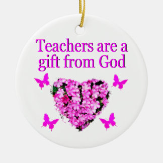 PRETTY PINK FLORAL CHRISTIAN TEACHER DESIGN CERAMIC ORNAMENT