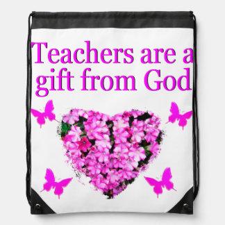 PRETTY PINK FLORAL CHRISTIAN TEACHER DESIGN DRAWSTRING BACKPACK