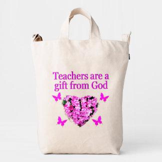 PRETTY PINK FLORAL CHRISTIAN TEACHER DESIGN DUCK BAG