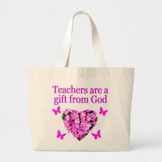 PRETTY PINK FLORAL CHRISTIAN TEACHER DESIGN LARGE TOTE BAG