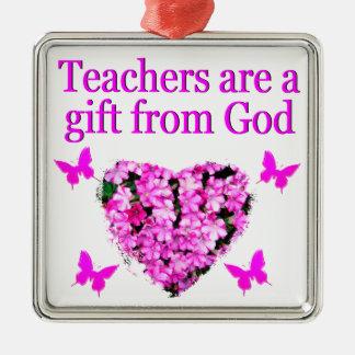 PRETTY PINK FLORAL CHRISTIAN TEACHER DESIGN METAL ORNAMENT