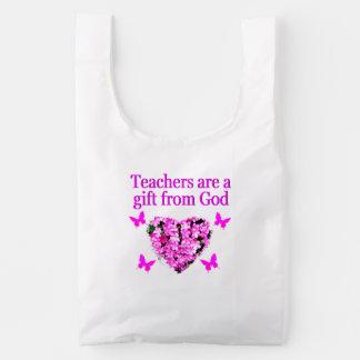 PRETTY PINK FLORAL CHRISTIAN TEACHER DESIGN REUSABLE BAG