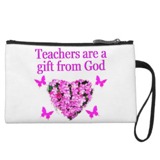PRETTY PINK FLORAL CHRISTIAN TEACHER DESIGN WRISTLET