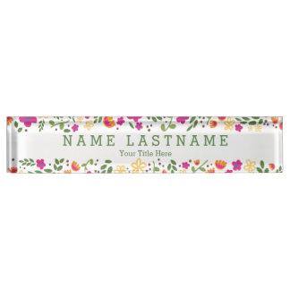 Pretty Pink Floral Custom Garden Desk Nameplate