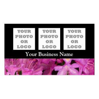 Pretty pink floral flower on black business cards