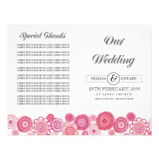 Pretty Pink Floral Flowers Wedding Program Booklet
