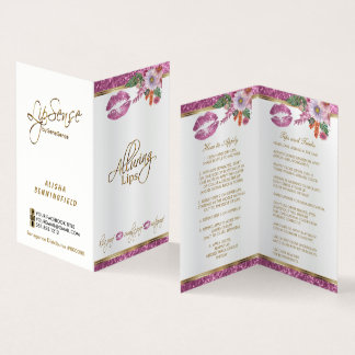 Pretty Pink Floral Glitter Lip Instructions  Satin Business Card