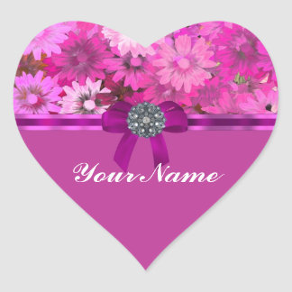 Pretty pink floral heart sticker