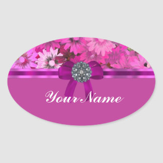 Pretty pink floral oval sticker