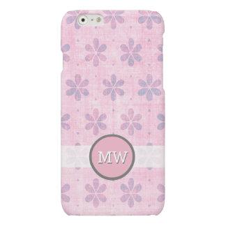 Pretty Pink Floral Pattern Monogram Matte iPhone 6 Case