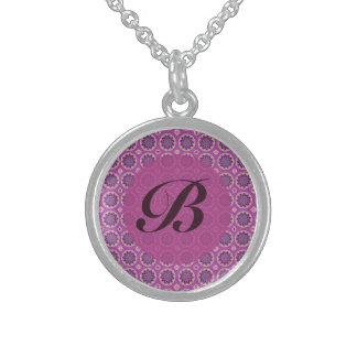 Pretty Pink floral pattern Monogram Sterling Silver Necklace