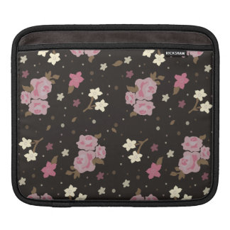 Pretty Pink Floral Pattern on Dark Brown Sleeve For iPads