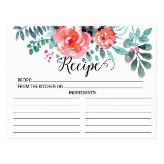 Pretty Pink Floral Recipe Card