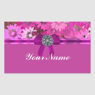 Pretty pink floral rectangular sticker
