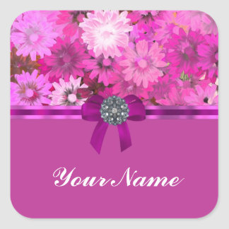 Pretty pink floral square sticker