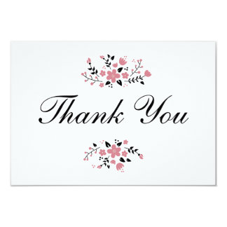 Pretty Pink Floral Stylish Flat Thank You Card