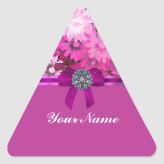 Pretty pink floral triangle sticker