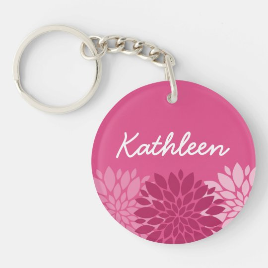 Pretty Pink Floral Trio with Name Keychain