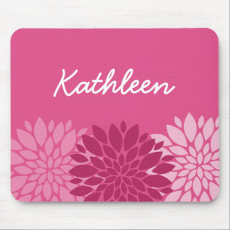 Pretty Pink Floral Trio with Name Mouse Pad