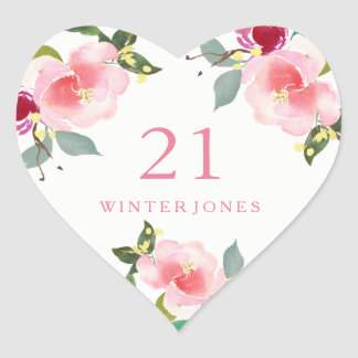 Pretty Pink Floral Watercolor 21st Birthday Party Heart Sticker