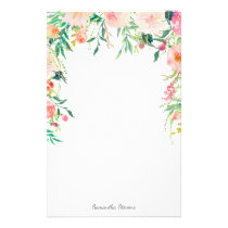 Pretty Pink Floral with Your Name Stationery