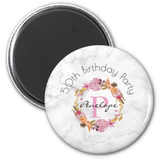 Pretty Pink Floral Wreath Monogram Birthday Magnet