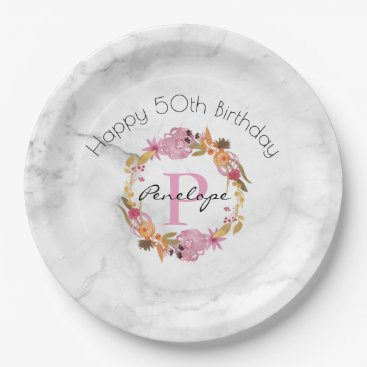 Beach Themed Pretty Pink Floral Wreath Monogram Birthday Paper Plate