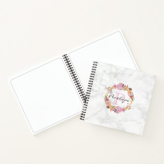 Pretty Pink Floral Wreath Monogram Notebook
