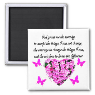 PRETTY PINK FLOWER AND BUTTERFLY SERENITY PRAYER 2 INCH SQUARE MAGNET