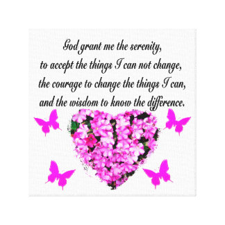 PRETTY PINK FLOWER AND BUTTERFLY SERENITY PRAYER CANVAS PRINT