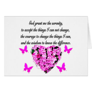 PRETTY PINK FLOWER AND BUTTERFLY SERENITY PRAYER CARD