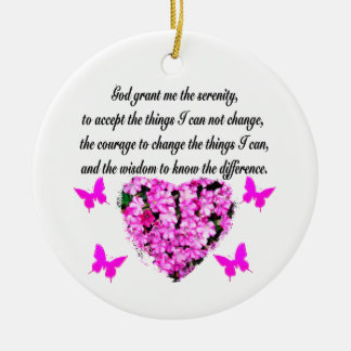 PRETTY PINK FLOWER AND BUTTERFLY SERENITY PRAYER CERAMIC ORNAMENT
