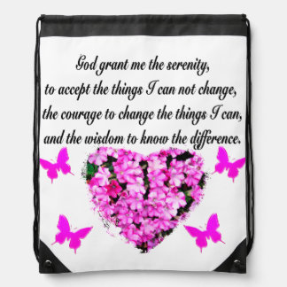 PRETTY PINK FLOWER AND BUTTERFLY SERENITY PRAYER DRAWSTRING BACKPACK