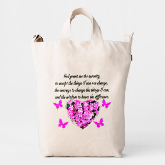 PRETTY PINK FLOWER AND BUTTERFLY SERENITY PRAYER DUCK BAG